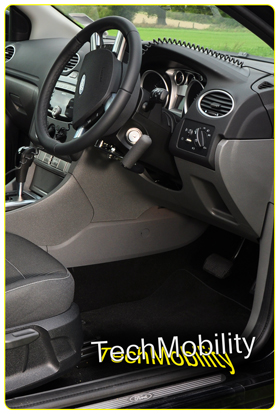 The Techmobility hand control system (no bars or exposed linkages).